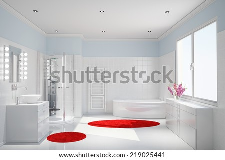 Modern white bathroom with shower and bathtub - stock photo