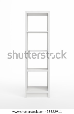 modern white bookcase, 3d render - stock photo