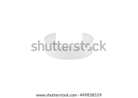 Modern white bracelet aluminum on isolated background with clipping path. Fashion accessory for women wrist. Blank object for your design. - stock photo