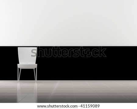 Modern white Chair to face a blank wall - on left side