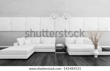Modern white design couch with vase and two lamps - stock photo