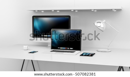 Modern white desk office interior with computer and digital devices 3D rendering