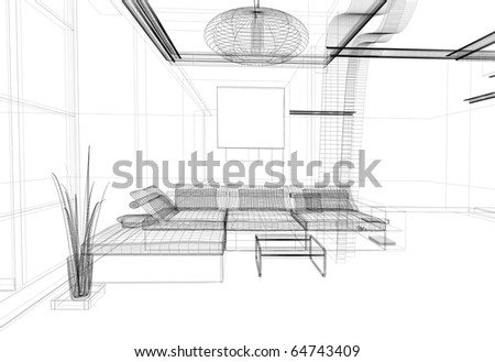 modern white drawing room, linear isolated drawing