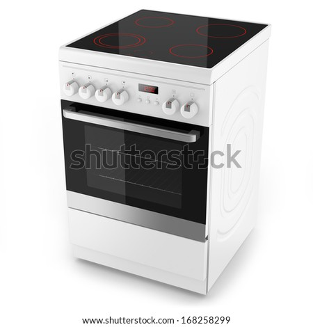 Modern white electrical cooker isolated on white with clipping path - stock photo
