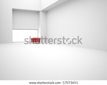 Modern white empty 3d interior with chair - stock photo
