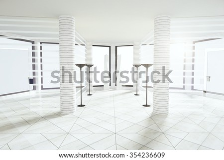 Modern white empty room with pillars and big windows 3D Render