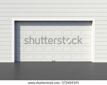 Modern white garage door - stock photo