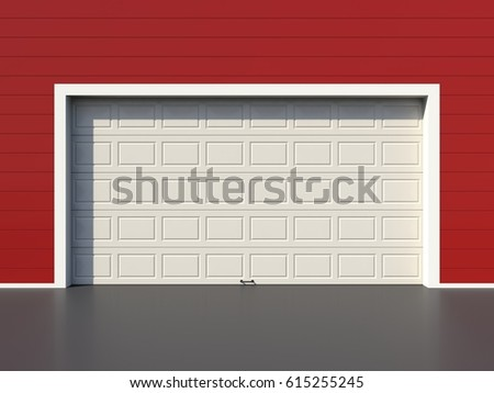 Modern white garage door on red wall 3D render