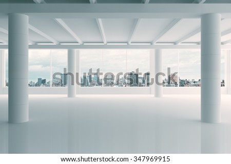 Modern white hangar area with city view 3D Render - stock photo