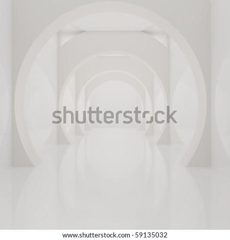 Modern White Interior - 3d illustration - stock photo