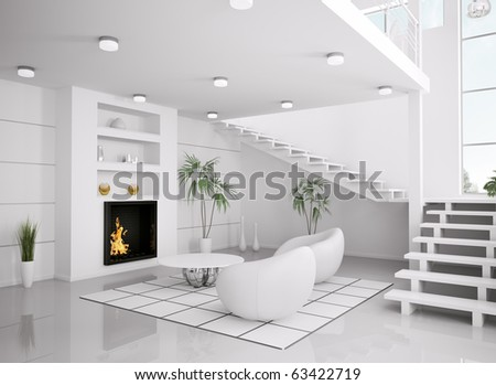 Modern white interior of living room with fireplace and staircase 3d render - stock photo