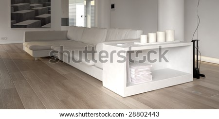 Modern white interior with couch (3D render) - stock photo