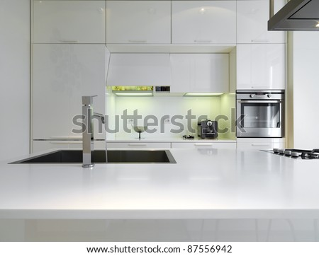 modern white  kitchen - stock photo