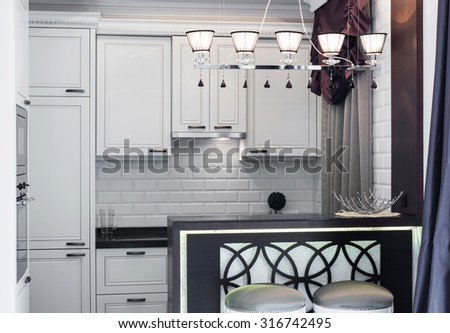 Modern white kitchen clean interior design deco architecture - stock photo