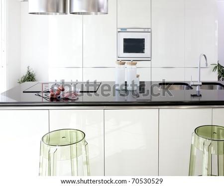 Modern white kitchen clean interior design deco architecture - stock photo