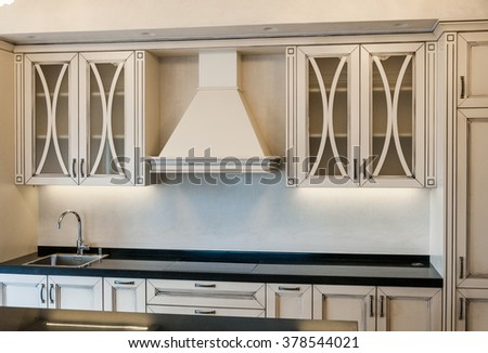 Modern white kitchen interior design - stock photo