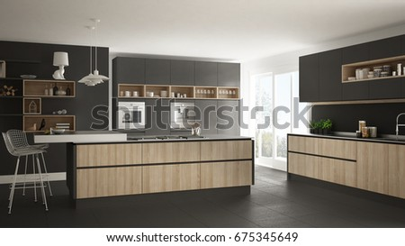 Modern white kitchen with wooden and gray details, minimalistic interior design, 3d illustration