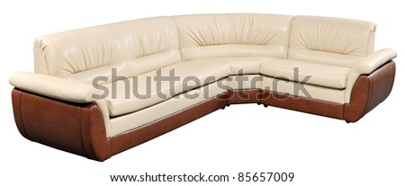 Modern white leader furniture, soft sofa-bed isolated on white with clipping path included
