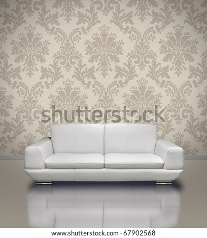 Modern white leather sofa in light damask pattern stucco wall room - stock photo