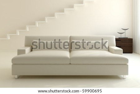 Modern white living-room. 3d render. - stock photo
