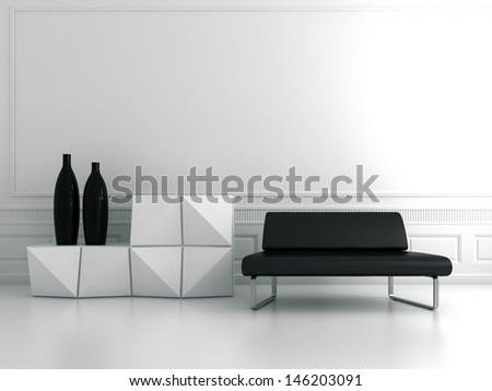 Modern white living room interior with black couch and sideboard with two vases