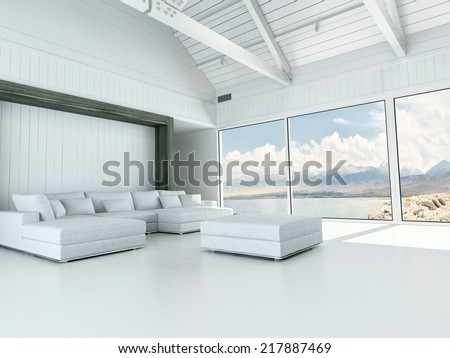 Modern white living room interior with large view windows overlooking the coastline and ocean and a corner unit lounge suite and ottoman with a white floor and open to the rafters white ceiling - stock photo