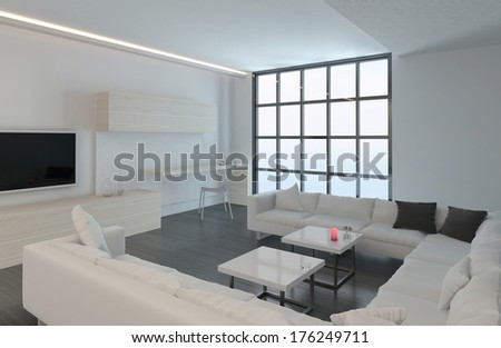 Modern white living room with floor to ceiling window - stock photo