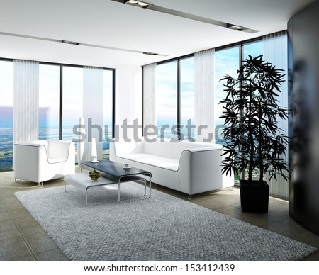 Modern white living room with huge windows and curtains - stock photo