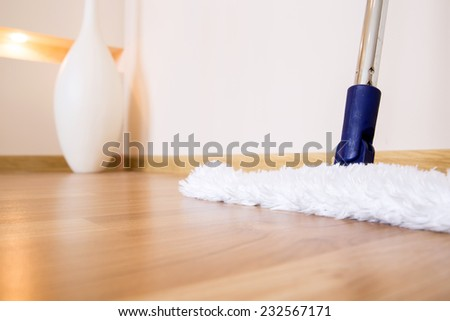 Modern white mop is ready for cleaning wooden floor from dust in nice interior with vase on background - stock photo