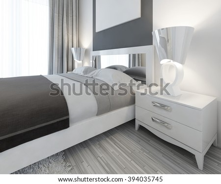 Modern white nightstand with a lamp by the bed in a bedroom Contemporary style. 3D render. - stock photo