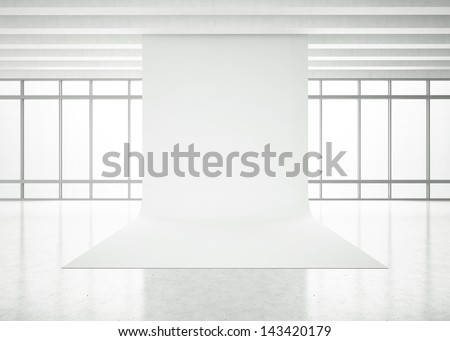 modern white office - stock photo