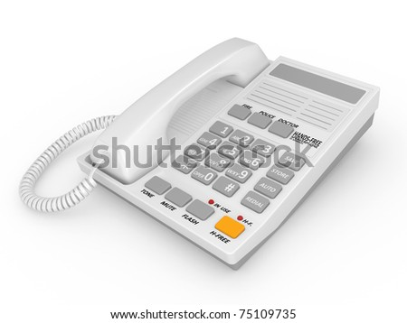 Modern white office telephone on a white background. - stock photo