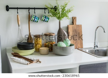 modern white pantry with utensil in kitchen - stock photo