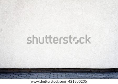 Modern white plaster street wall background - stock photo