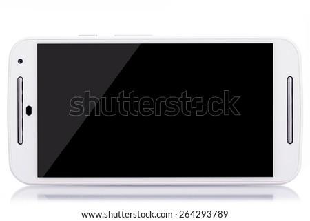 Modern white smartphone on white background - stock photo