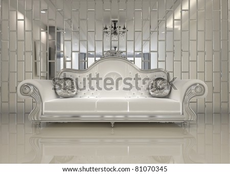 Modern white sofa in royal interior apartment space - stock photo