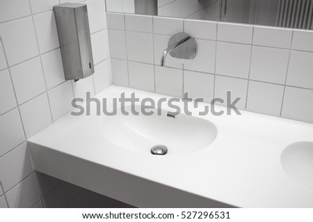 Modern White Stone Washbasin.White Bathroom With Sink.Washbasin With  Battery Sensor.Public