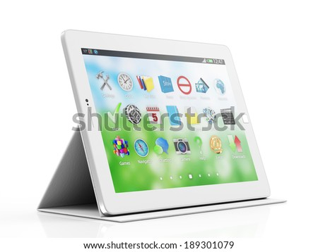Modern White Tablet PC on Stand isolated on white background - stock photo