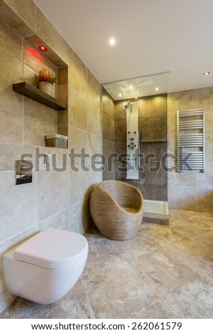 Modern white toilet in new luxury bathroom - stock photo