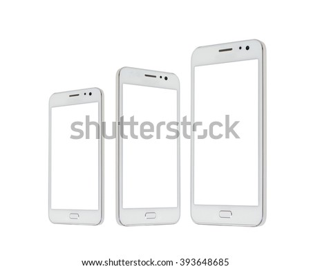 Modern white touchscreen android cellphone tablet smartphone isolated on light background. Empty screen - stock photo