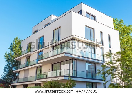 Modern white townhouse seen in Berlin, Germany