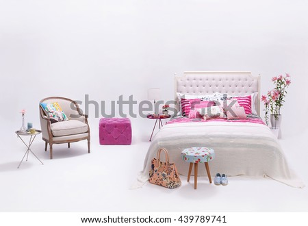 modern white wall bedroom and minimal decor - stock photo