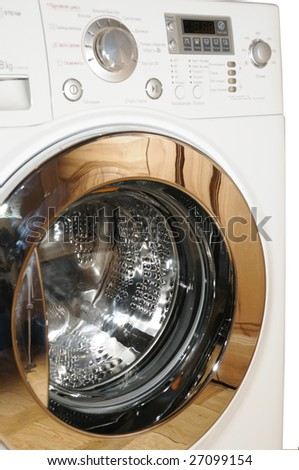 Modern white washing machine, isolated on white background - stock photo