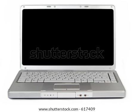 modern widescreen laptop with a blank screen for your message or image