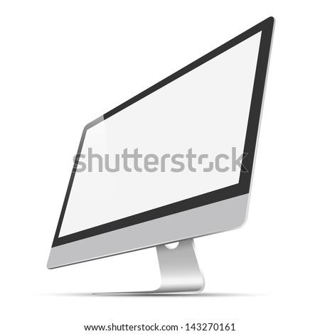 Modern widescreen Lcd Monitor. Raster version - stock photo