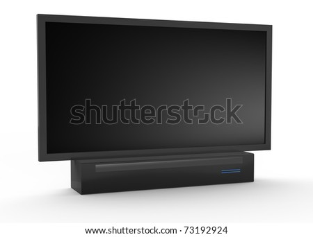 Modern widescreen lcd tv monitor. Isolated white background. - stock photo