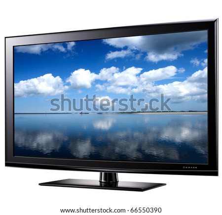 Modern widescreen tv lcd monitor,  illustration. - stock photo