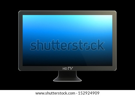 Modern widescreen TV with blue screen isolated on black
