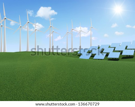 Modern Wind Turbines and Solar Panels Farm on beautiful landscape with clouds and sun - stock photo