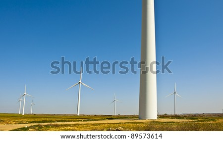 Modern Wind Turbines Producing Energy In Spain - stock photo